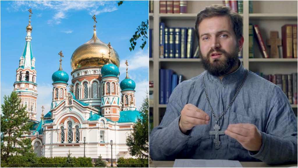 На фото православная церковь (слева) и священник Стахий Колотвин (справа).