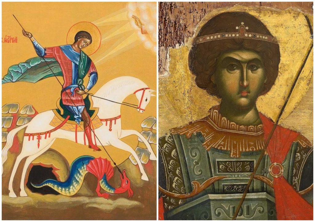 На фото изображены иконы Георгию Победоносцу.
