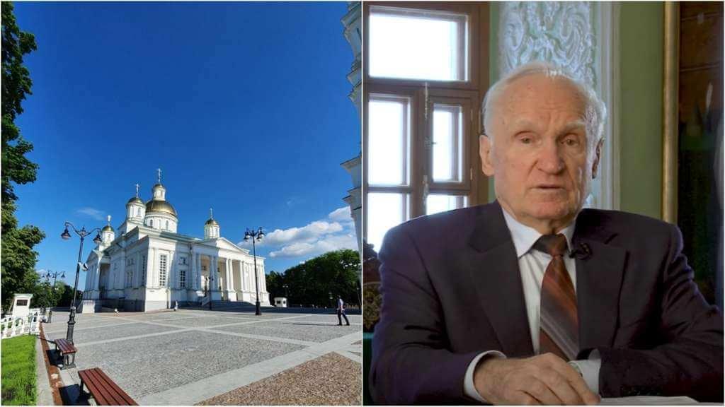На фото церковь в России (слева) и профессор Алексей Осипов (справа).