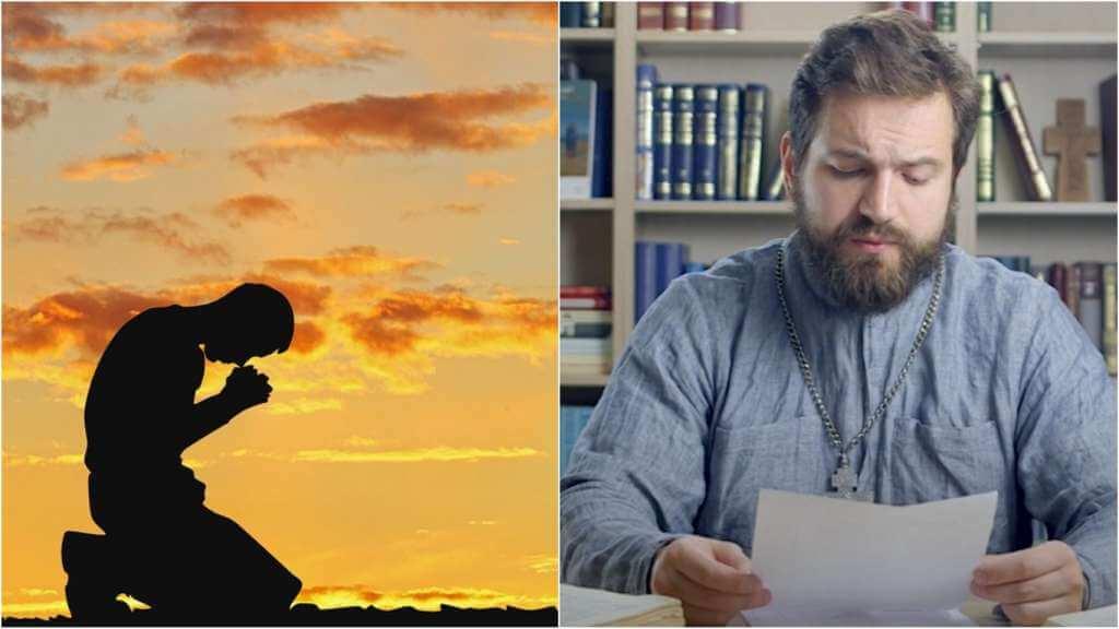 На фото человек молится (слева) и священник Стахий Колотвин (справа).