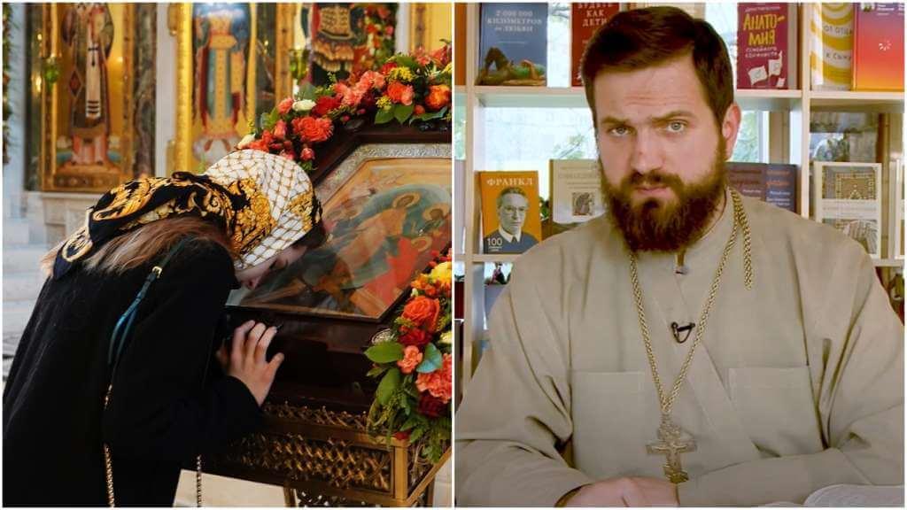 На фото женщина молится в церкви (слева) и священник Стахий Колотвин (справа).