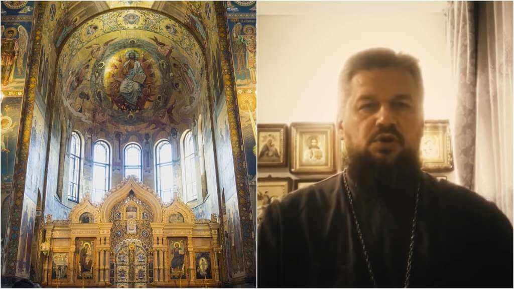 На фото церковь в России (слева) и протоиерей Владимир Пучков (справа).