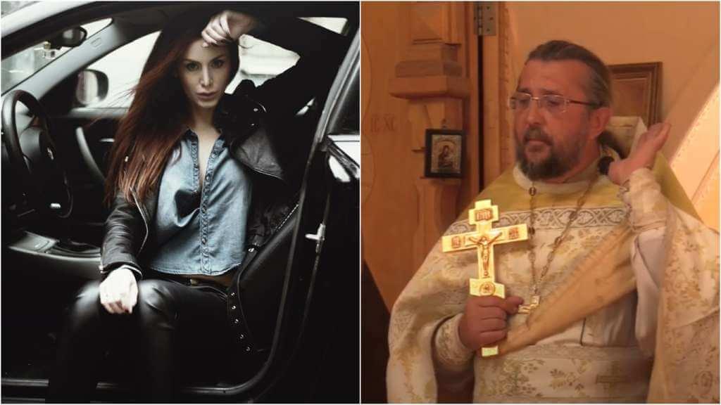 На фото девушка в машине (слева) и священник Игорь Сильченков (справа).