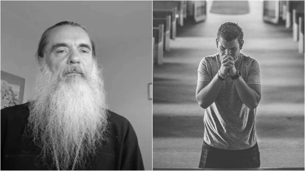На фото священник Александр (слева) и мужчина, который молится в храме (справа).