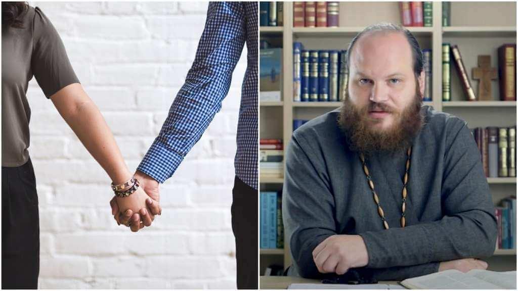 На фото муж и жена держатся за руки (слева) и священник Павел Островский (справа).