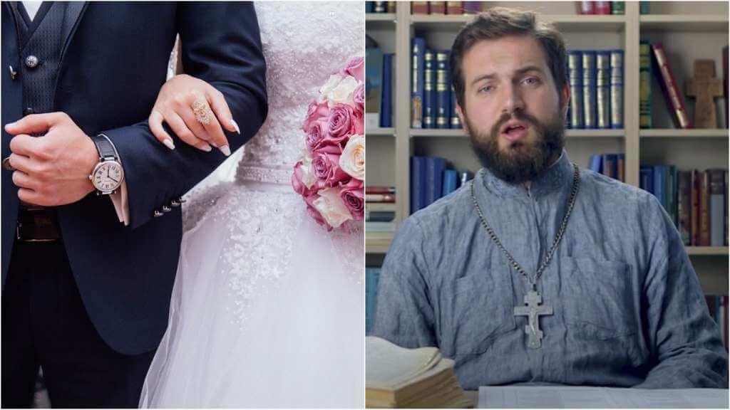 На фото супружеская пара (слева) и священник Стахий Колотвин (справа).