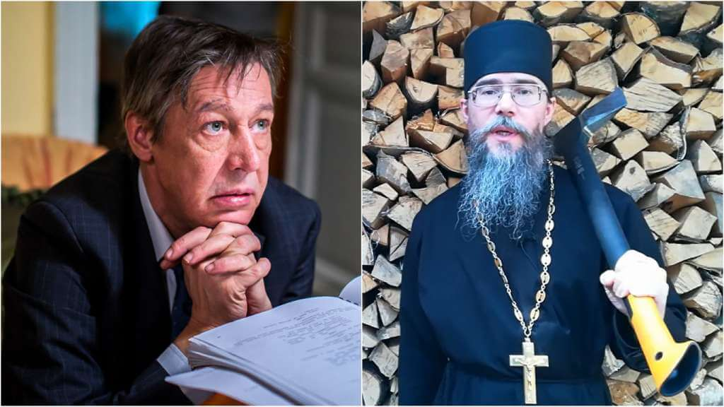На фото актер Михаил Ефремов (слева) и священник Кирилл Иванов (справа).