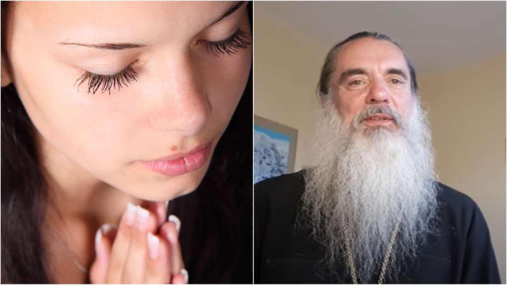 На фото девушка молится (слева) и священник Александр (справа).