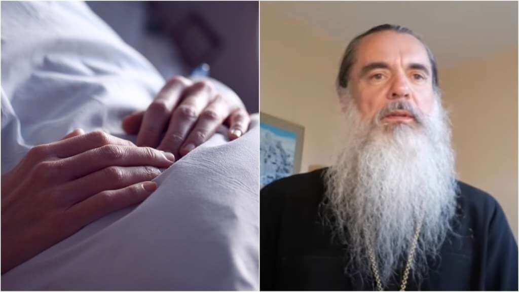 На фото изображен пациент (слева) и батюшка Александр (справа).