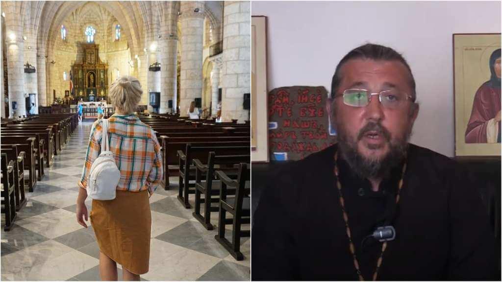 На фото женщина пришла в храм (слева) и священник Игорь Сильченков (справа).