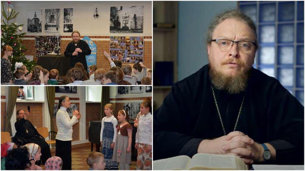 На фото священники общаются с детьми (слева) и протоиерей Феодор Бородин (справа).