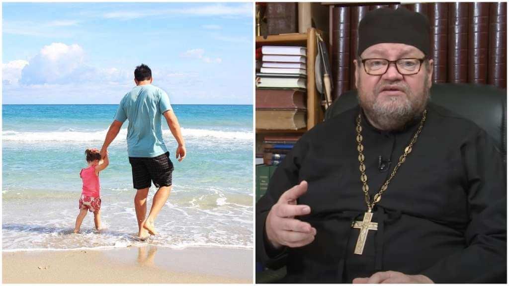 На фото отец с ребенком на пляже (слева) и священник Олег Стеняев (справа).