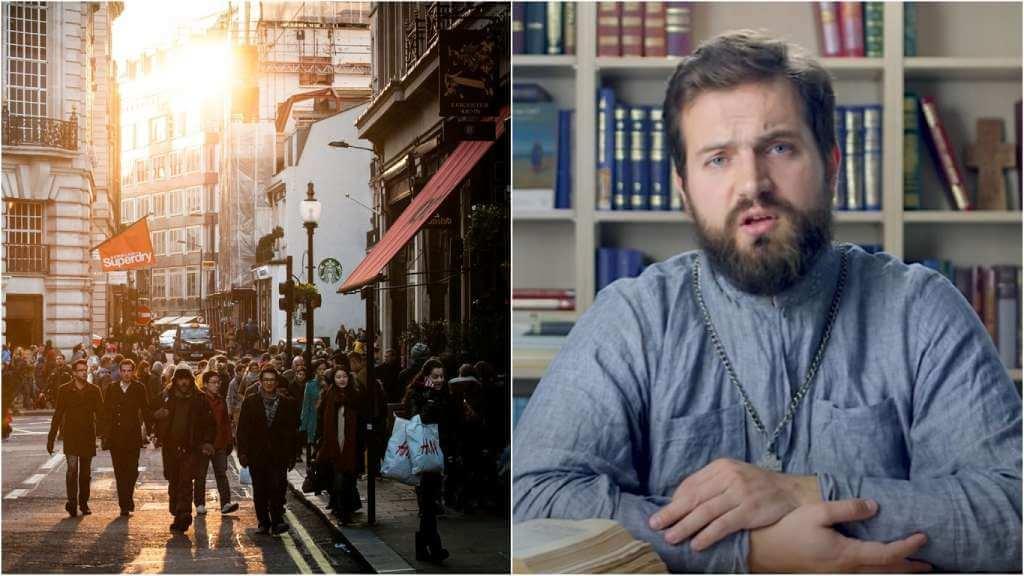 На фото люди идут по улице (слева) и священник Стахий Колотвин (справа).