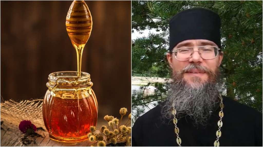 На фото банка мёда (слева) и священник Кирилл Иванов (справа).