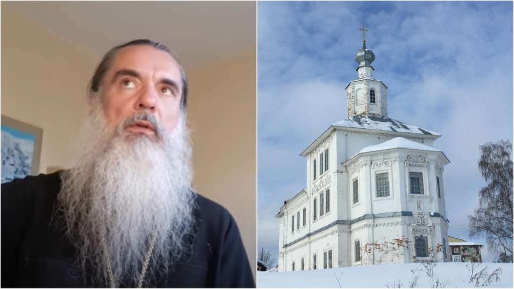 На фото батюшка Александр (слева) и церковь в России (справа).