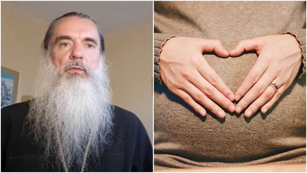 На фото священник Александр (слева) и беременная женщина (справа).