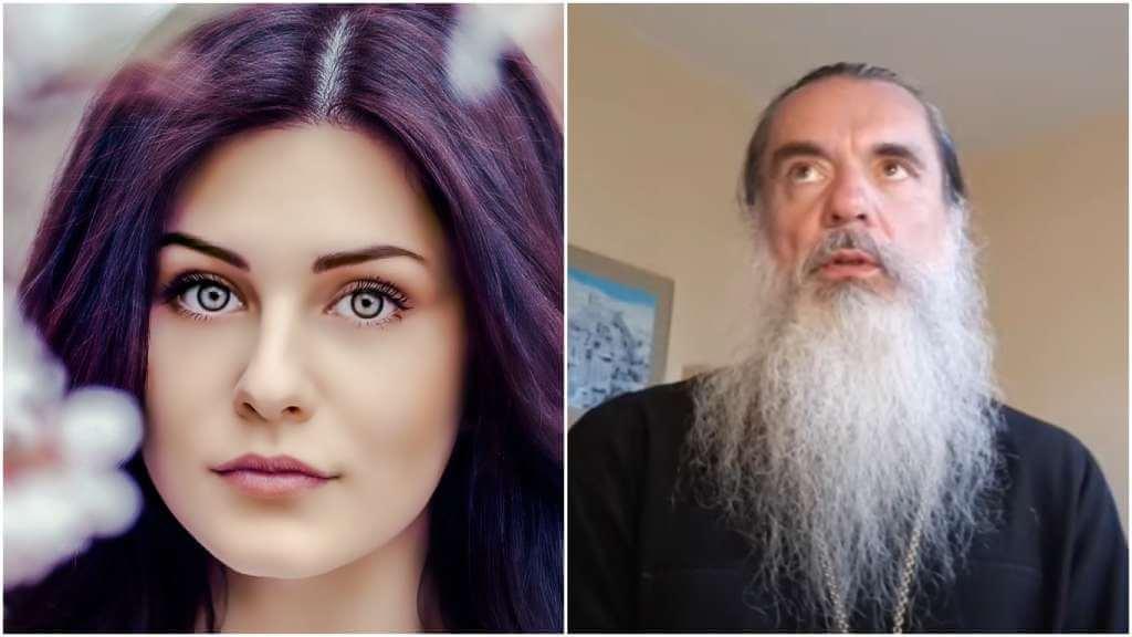 На фото изображена женщина (слева) и священник Александр (справа).