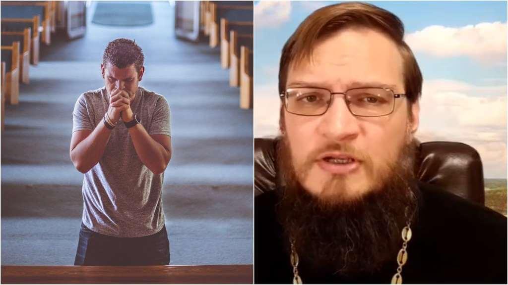 На фото мужчина молится в храме (слева) и священник Антоний Русакевич (справа).