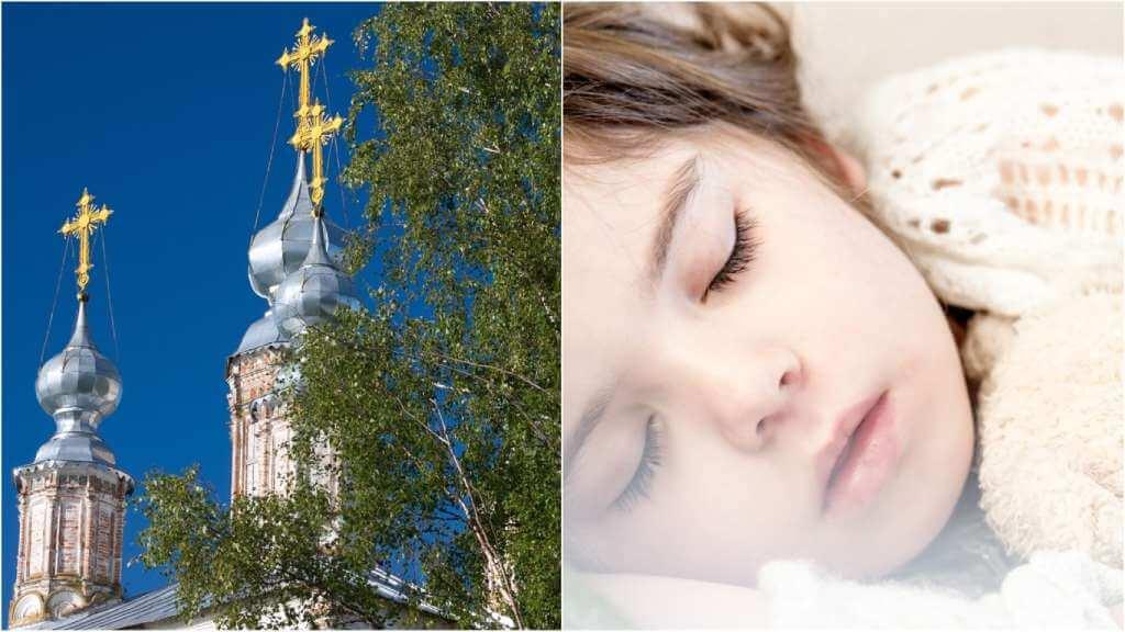 На фото церковь в России (слева) и спящий ребенок (справа).