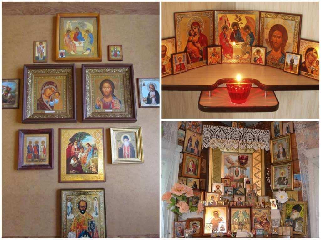 На фото изображены иконы в доме.