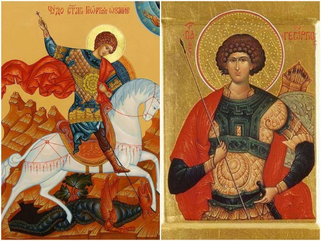 На фото изображены иконы Георгия Победоносца.