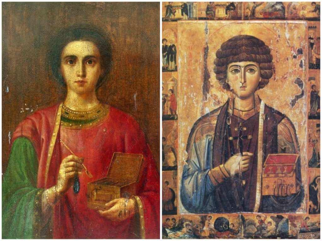 На фото изображены иконы Пантелеймону Целителю.