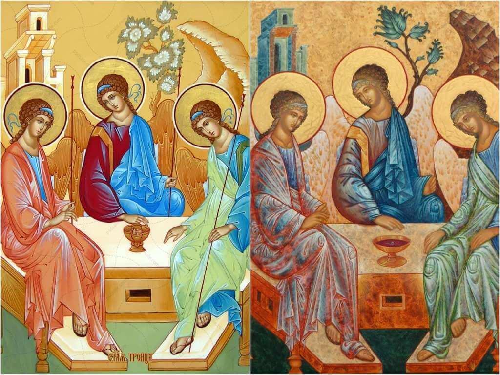 На фото изображена икона Святой Троицы.