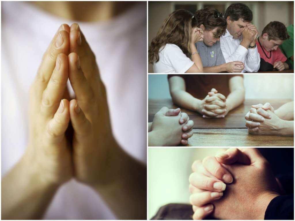 На фото люди молятся по согласию вместе.