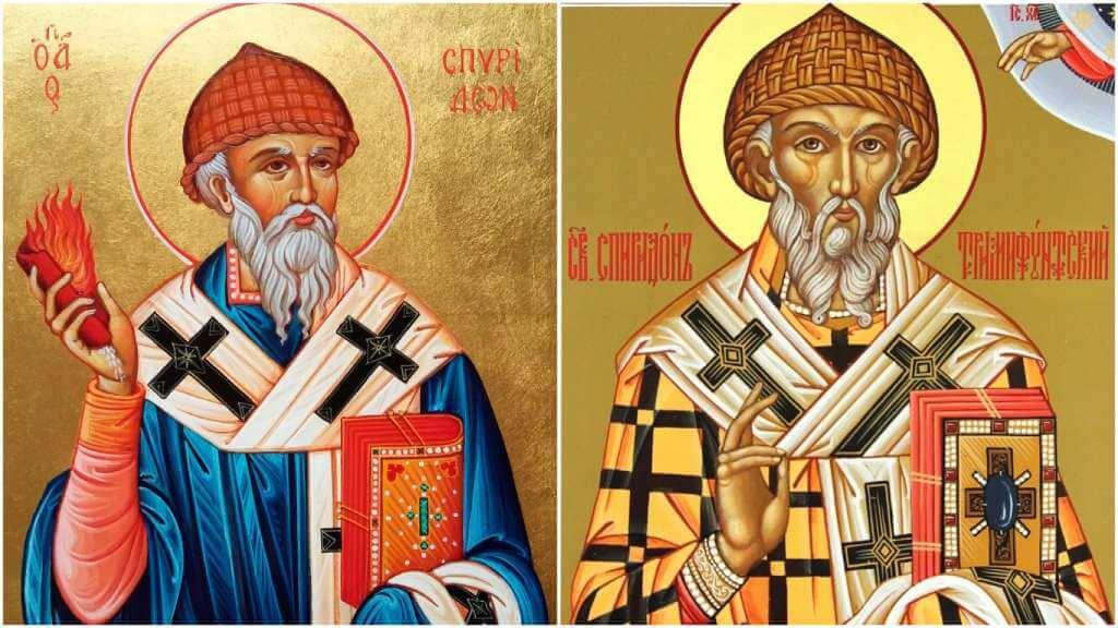 На фото изображены иконы Спиридону Тримифунтскому.