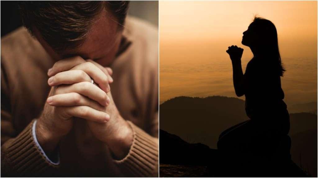 На фото люди молятся.