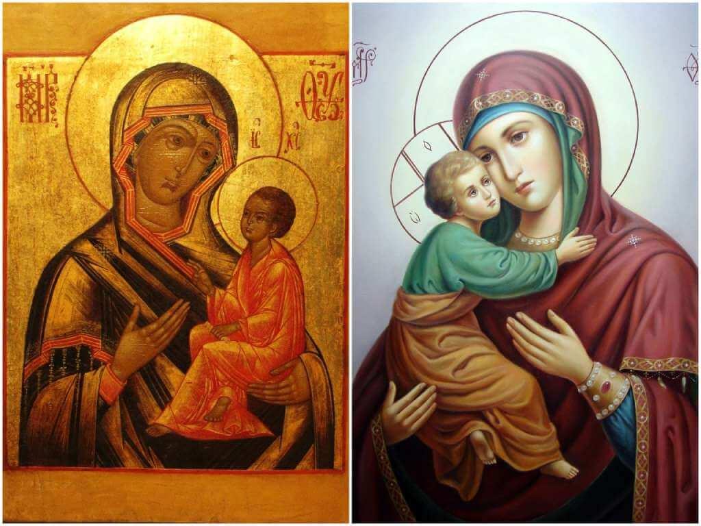 На фото иконы Богородице.