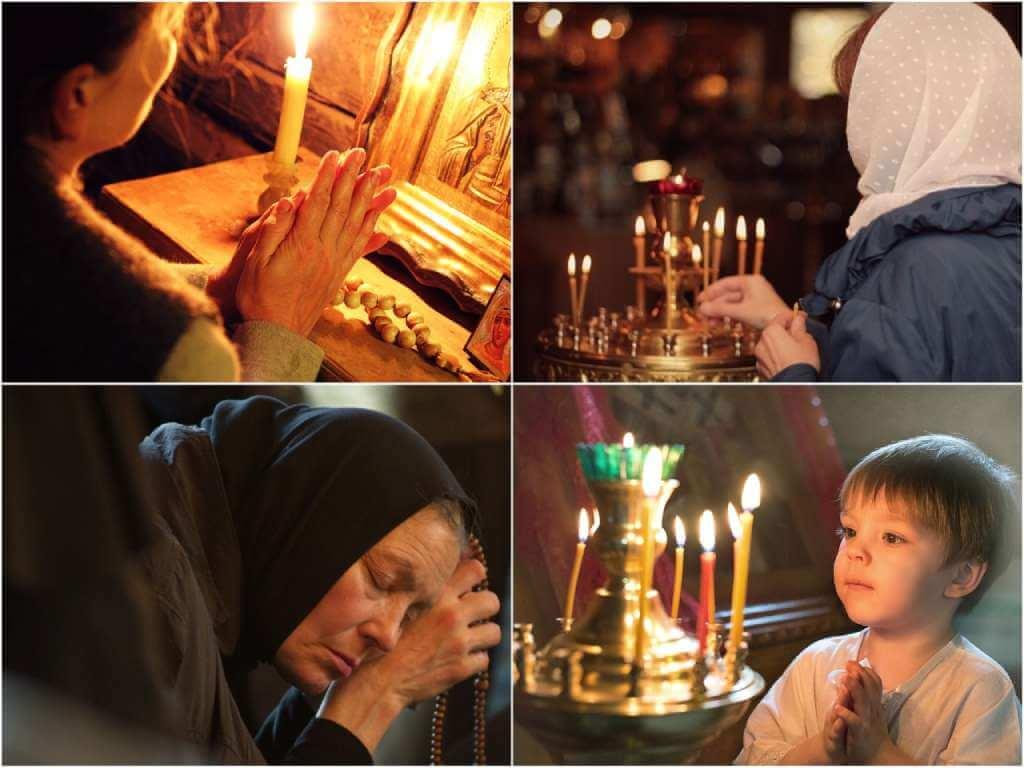 На фото изображены люди, которые молятся.