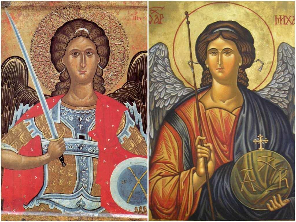 На фото иконы Архангелу Михаилу.