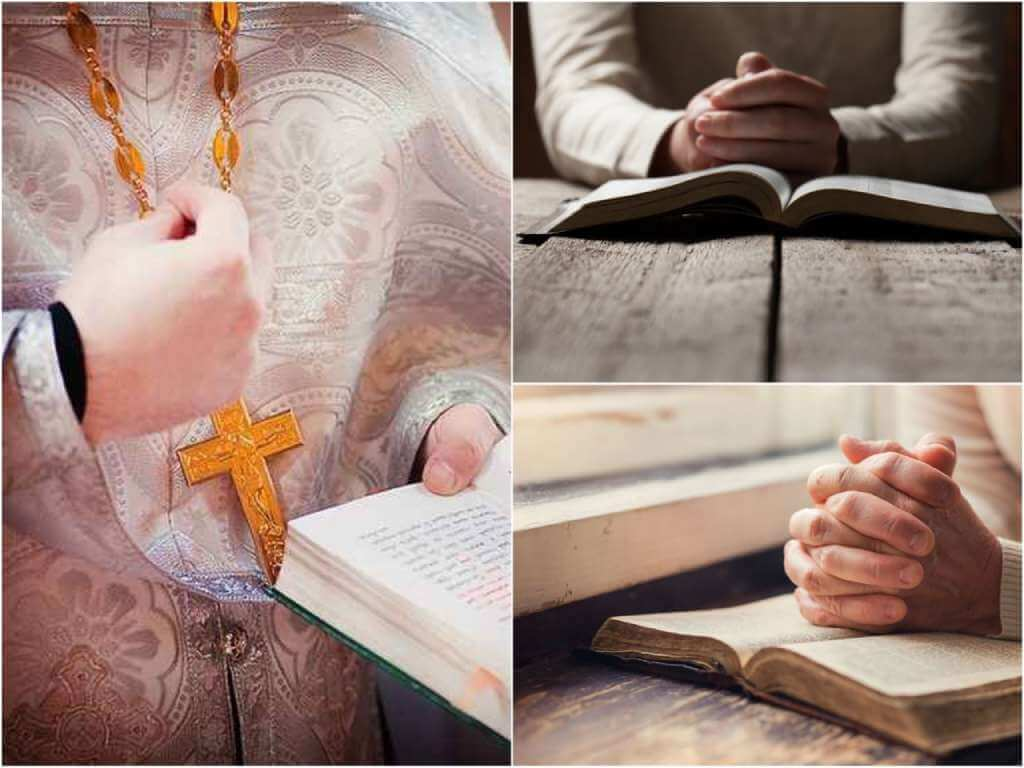 На фото люди молятся над библией.