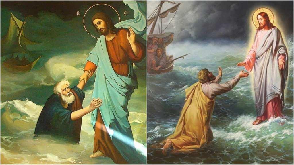 На фото Господь помогает моряку.