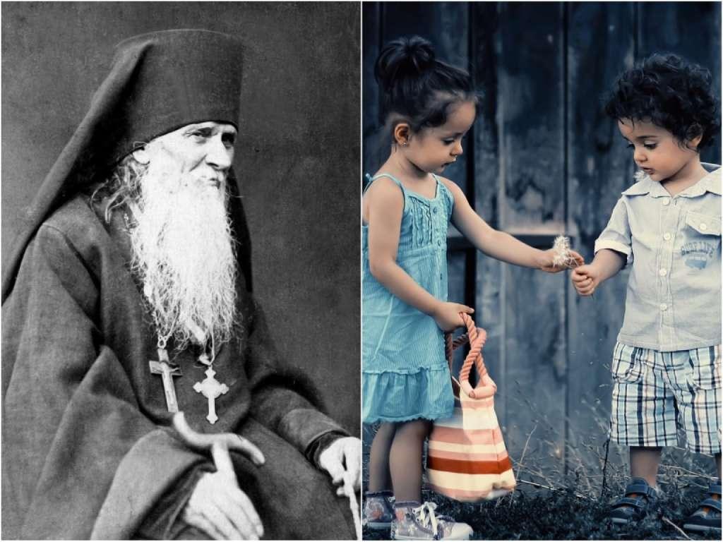На фото Амвросий Оптинский (слева) и дети (справа).