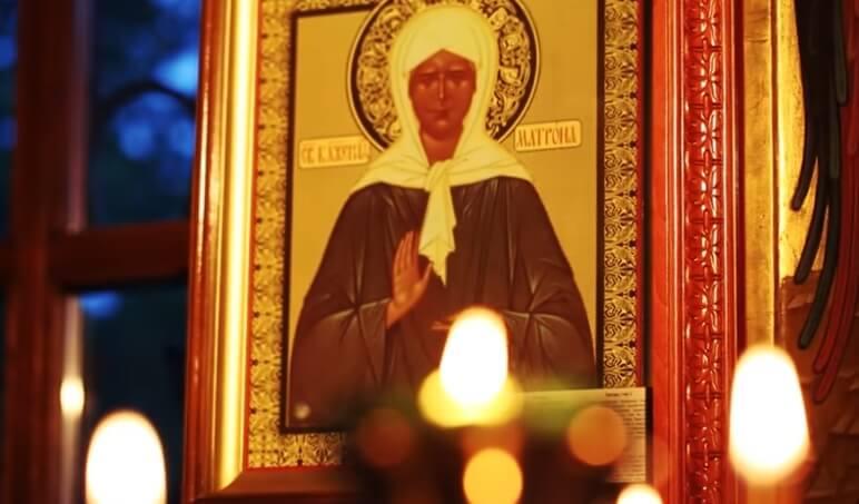 Икона Матроны Московской в храме.